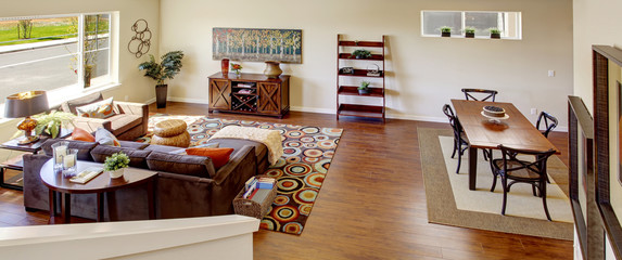 Living room. Panoramic view from staircase