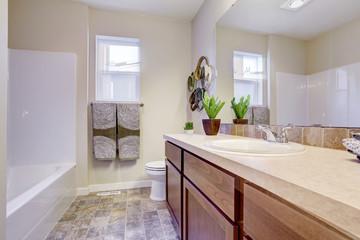 Refreshing white bathroom in empty house