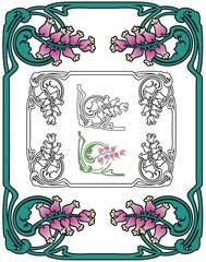 Art Nouveau Border With Little Pink Flowers