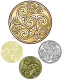 Pagan emblem, celtic coin design poster