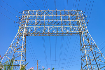 Industrial electricity transmission tower grid,front perspective