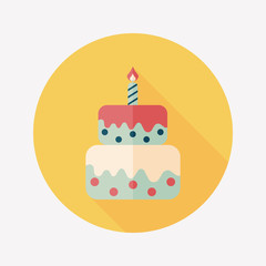 birthday cake flat icon with long shadow,eps10