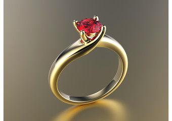 Engagement Ring with garnet. Jewelry background