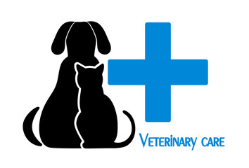 cat and dog symbol of veterinary medicine