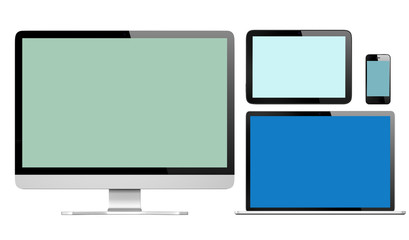 Group of Digital Devices with Colorful Screens