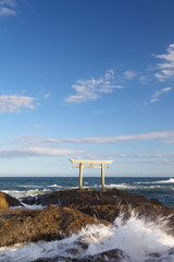 Japan landscape of traditional Japanese gate and sea