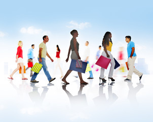 Group of People Walking with Shopping Bags