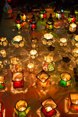 Lamps from the souk in Marrakesh at night