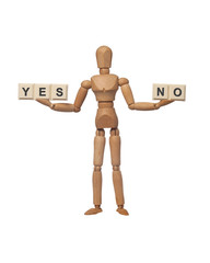 Figurine presenting choice of yes or no isolated