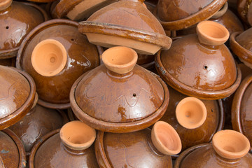 Brown Tajines at the market, Morocco