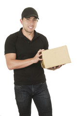 handsome brunette courier man holding package