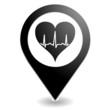 tracé cardiaque sur symbole localisation noir