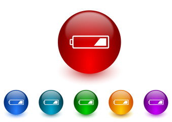 battery internet icons colorful set
