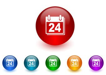calendar internet icons colorful set
