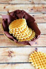 Belgian waffles in basket