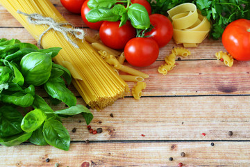 background with pasta and vegetables