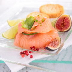 appetizer, smoked salmon and fresh fig