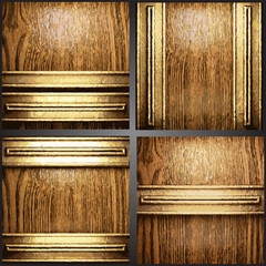 Vector wood and gold background set