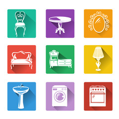 flat icons of furniture and equipment for the home