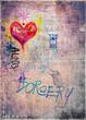 Retro' and romantic graffiti background