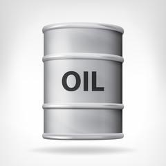metallic oil barrel isolated on white