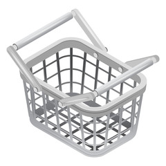 metallic basket in isometric view isolated
