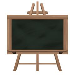 wide blackboard on tripod object isolated