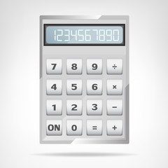 small square metallic calculator object isolated