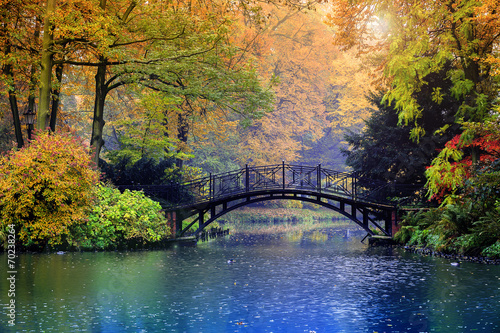 Autumn - Old bridge in autumn misty park - 70238264