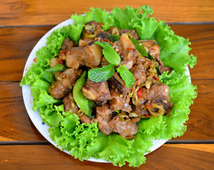 Fried pork with herb