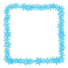 Quadratischer Rahmen aus blauen Schneeflocken – Vektor
