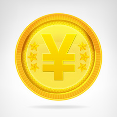 Yen coin golden currency object isolated