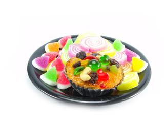 various of dessert on white background