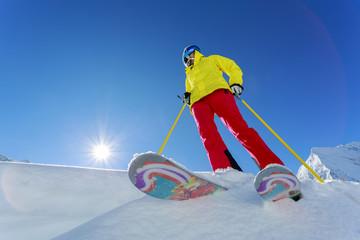 Ski, Skier, Freeride in fresh powder snow
