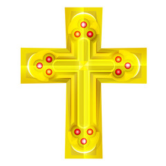 golden cross with red rubby object