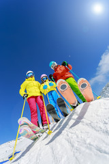 Skiing, winter, snow, skiers, sun and fun