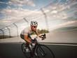 Cyclist circulating at high speed