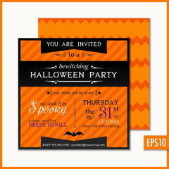 Halloween Invitation Orange Strip