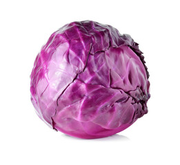 head of red cabbage on a white background