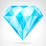blue clear diamond side view vector