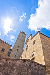 View of San Gimignano buidings on central square, Tuscany