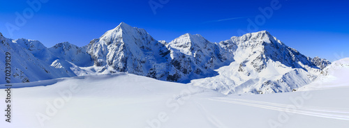Leinwanddruck Bild Winter mountains, panorama - Italian Alps