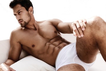 Sexy portrait of muscular male model in underwear