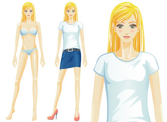 Vector female t-shirt fashion model (Caucasian)