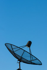 satellite dish with clear blue sky
