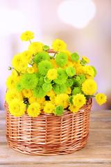 Beautiful bouquet of chrysanthemums flowers in wicker basket,