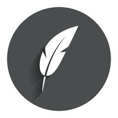 Feather sign icon. Retro pen symbol.