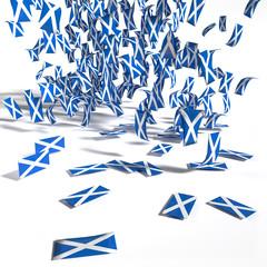 Viele Zettel und Flaggen aus  Schottland