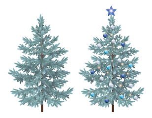 Christmas spruce fir trees with ornaments