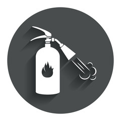 Fire extinguisher sign icon. Fire safety symbol.